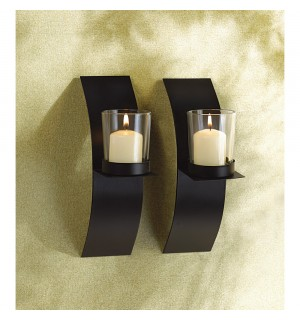 Mod Art Candle Sconce Duo
