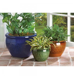 Jewel Tone Flower Pot Trio