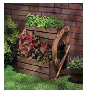 Wagon Wheel Double Tier Planter