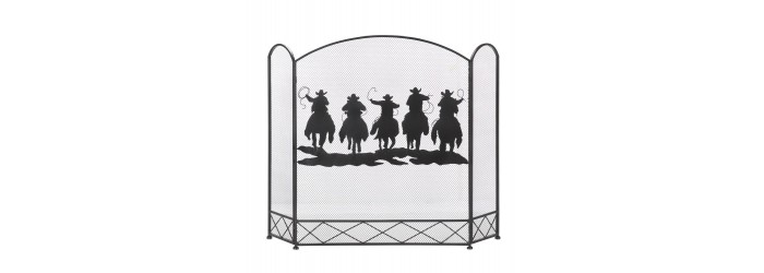 Cowboy Round up Fireplace Screen